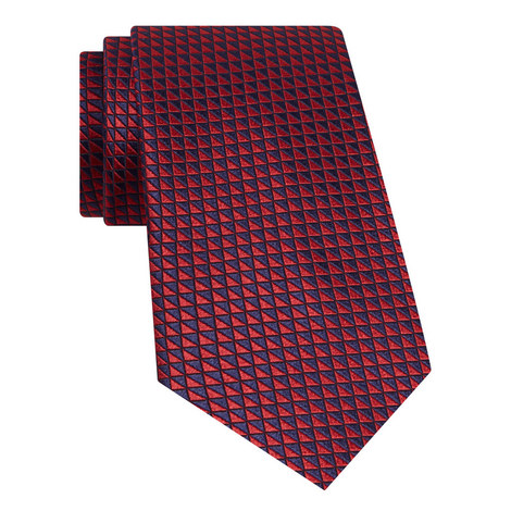 Geometric Pattern Silk Tie, ${color}