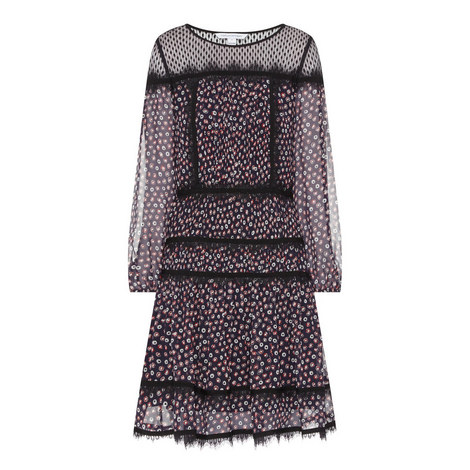 Jamie Dot Print Silk Dress, ${color}