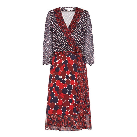 Nieves Dot Print Wrap Dress, ${color}