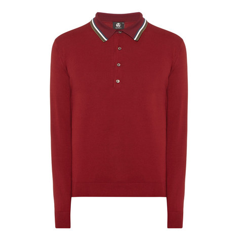 Long Sleeve Knitted Polo Shirt, ${color}