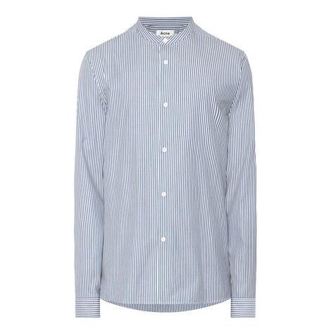 Grandad Collar Pinstripe Shirt, ${color}