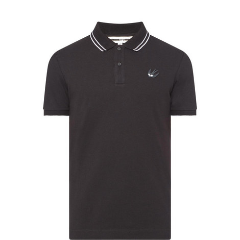 Swallow Stripe-Tipped Polo Shirt, ${color}