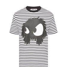 Striped Monster Print T-Shirt