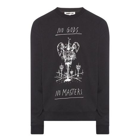 No Gods Graphic Print Sweatshirt, ${color}
