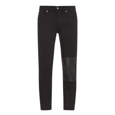 Patch Appliqué Skinny Jeans, ${color}