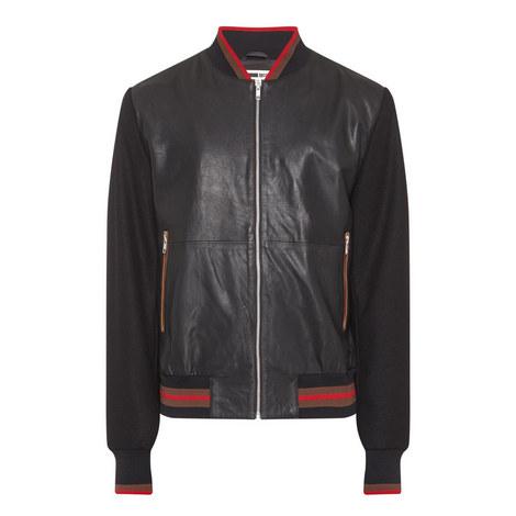 Leather Felt Sleeve Bomber Jacket, ${color}