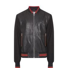 Leather Felt Sleeve Bomber Jacket