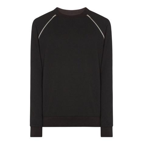 Zipped Crew Neck Sweatshirt, ${color}