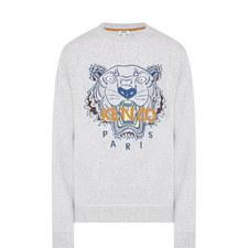 Tiger Appliqué Crew Neck Sweater