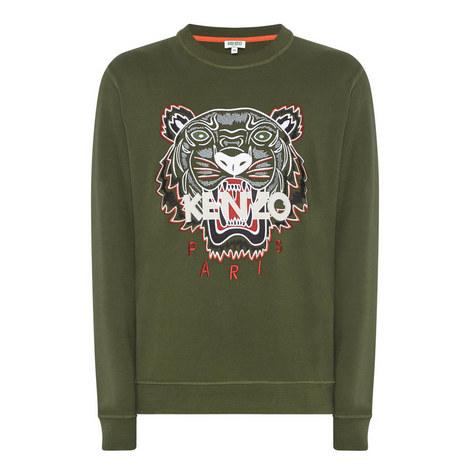 Tiger Appliqué Crew Neck Sweatshirt, ${color}