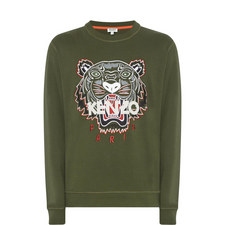 Tiger Appliqué Crew Neck Sweatshirt