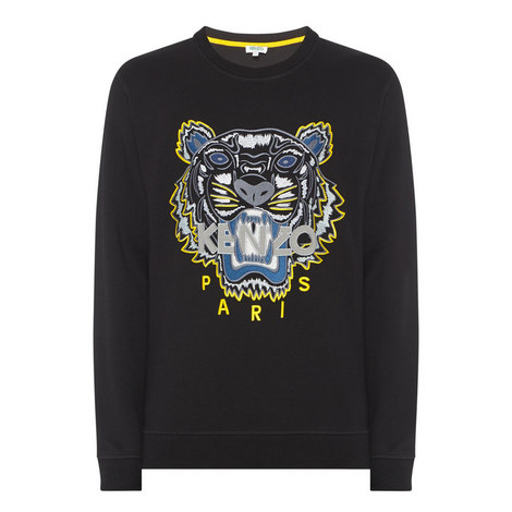 Tiger Appliqué Crew Neck Sweatshirt, ${color}