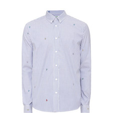 Striped Letter Detail Oxford Shirt