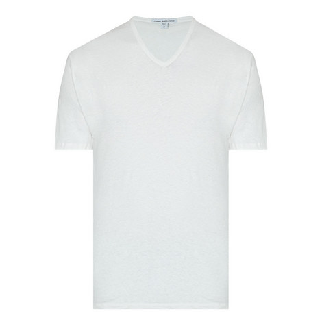 V-Neck Linen Mix T-Shirt, ${color}