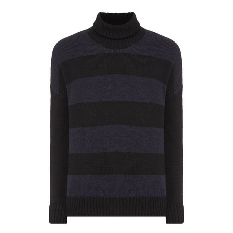 Stripe Alpaca Mix Polo Sweater, ${color}
