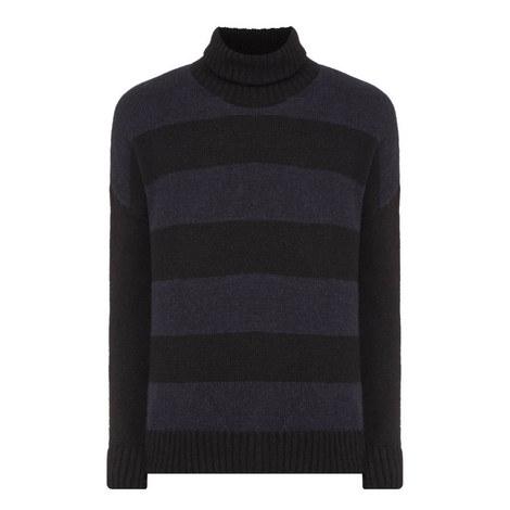 Stripe Alpaca Mix Polo Sweater, ${color}
