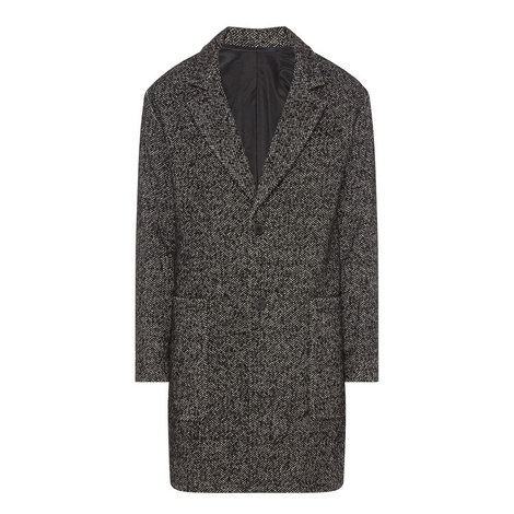 Relaxed Herringbone Print Wool Coat, ${color}