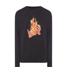 Fire Print Cotton Sweatshirt