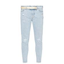 Belted Distressed Slim Fit Jeans