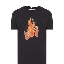 Fire Hands Printed T-Shirt