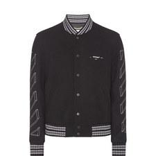 3D Diagonal Stripe Varsity Jacket