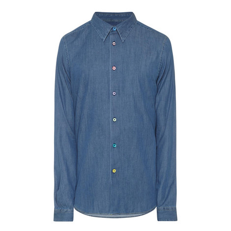 Tailored Fit Chambray Shirt, ${color}