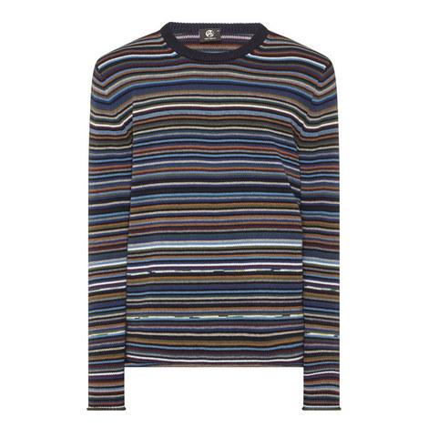 Multi-Stripe Crew Neck Sweater, ${color}