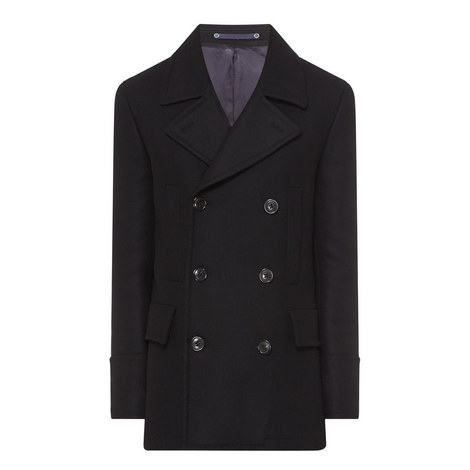 Twill Wool Peacoat, ${color}