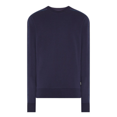 Contrast Stitching Crew Neck Sweater, ${color}