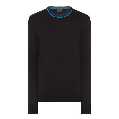 Contrast Collar Crew Neck Sweater, ${color}