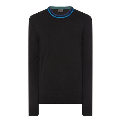 Contrast Collar Crew Neck Sweater, ${color}