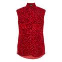 Leopard Print Sleeveless Shirt, ${color}