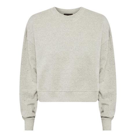 Rhinestone Sleeve Sweatshirt, ${color}
