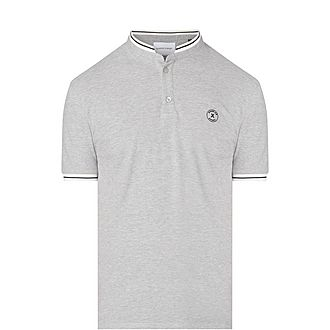 Striped Cuff Officer Collar Polo Shirt