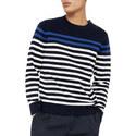 Long Sleeve Horizontal Stripe Sweater, ${color}