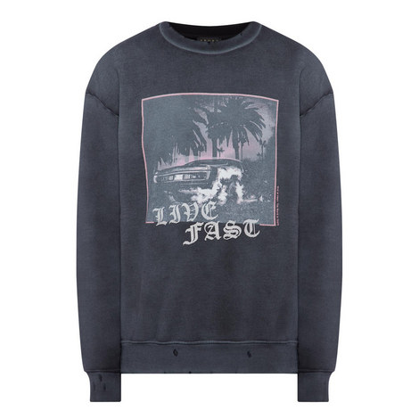 Live Fast Print Sweatshirt, ${color}