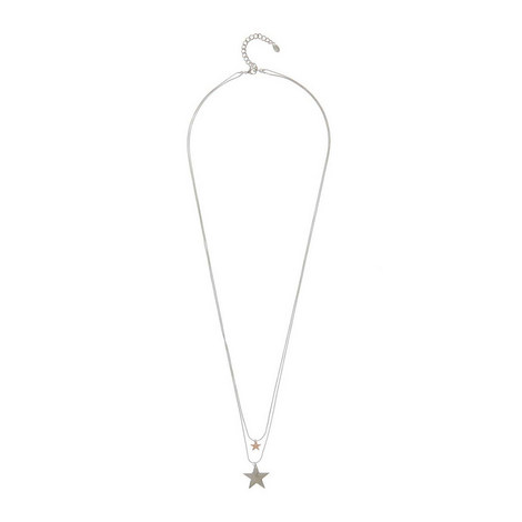 Silver Double Star Necklace, ${color}
