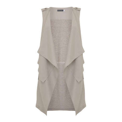 Open Waterfall Drape Gilet, ${color}