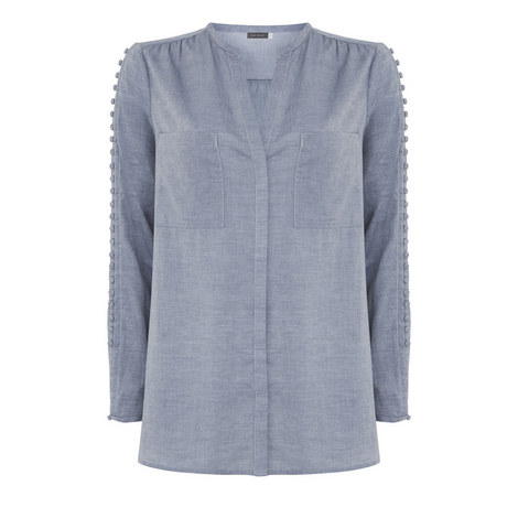Button Trim Chambray Shirt, ${color}