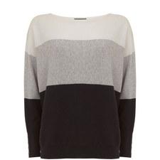 Bateau Neck Block Stripe Sweater