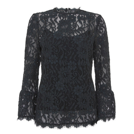 Lace Flared Cuff Top, ${color}