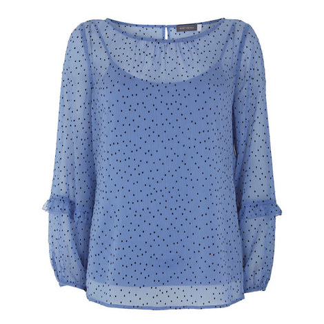 Pin Dot Flocked Blouse, ${color}
