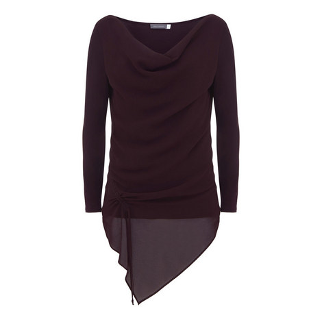 Ruched Cowl Neck Top, ${color}