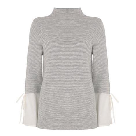 Funnel Neck Shirt Sleeve Sweatshirt, ${color}