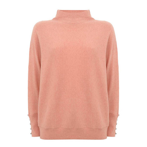 Button Cuff Batwing Knit, ${color}
