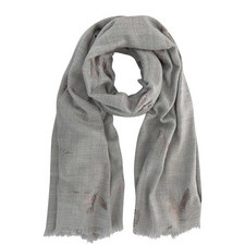 Grey Foiled Bird Blanket Scarf