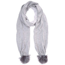 Grey Beaded Knit Pom Pom Scarf
