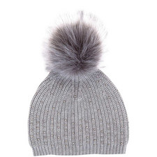 Grey Beaded Detail Pom Pom Hat