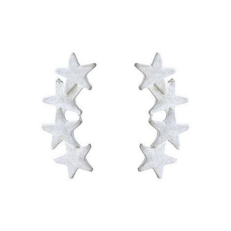 Silver Tone Star Cuff Earring, ${color}