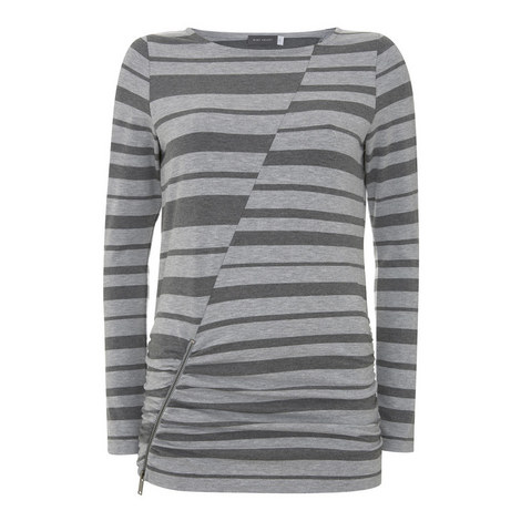 Ruched Stripe Jersey Top, ${color}